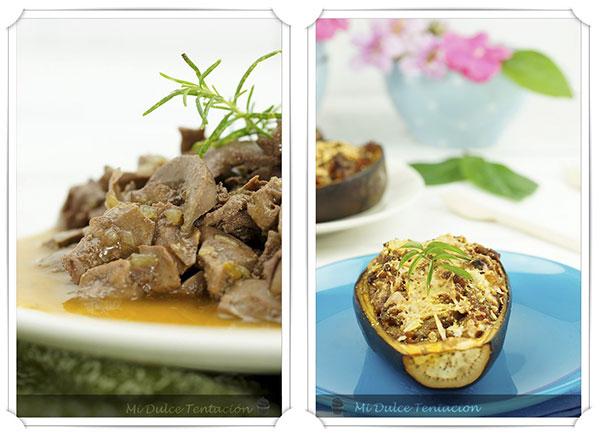 Riñón al jerez y berenjenas rellenas de batata