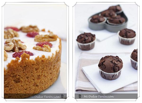 Dos recetas del blog de Silvia: tarta de crema de yoghourt y fresas y muffins de chocolate y especias
